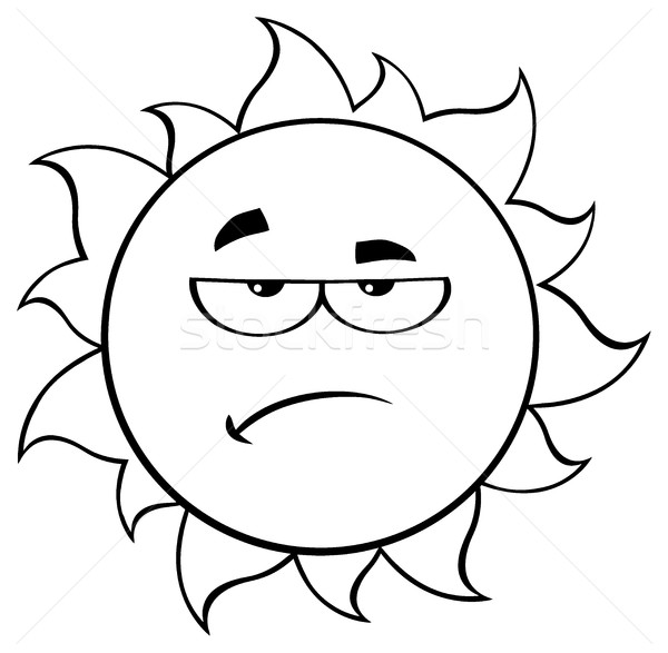 Black And White Grumpy Sun Cartoon Mascot Character Stock photo © hittoon