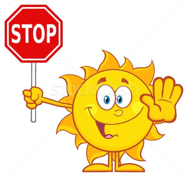 Aranyos nap rajzfilm kabala karakter gesztikulál tart Stock fotó © hittoon