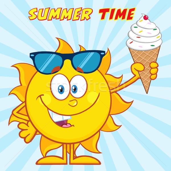 Cute Sun Cartoon Mascot Character With Sunglasses Holding A Ice Cream Stock photo © hittoon