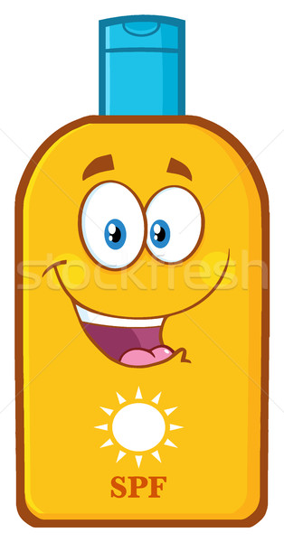 Stock photo: Happy Bottle Sunscreen Cartoon Mascot Character With Sun And Text SPF