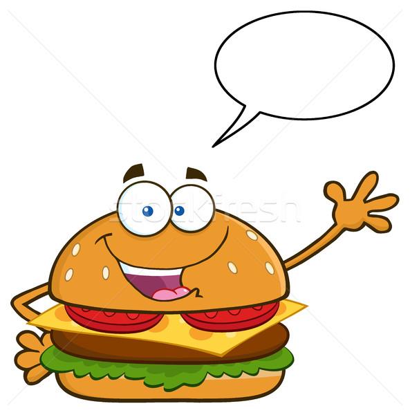 Happy Burger Cartoon Mascot Character Waving For Greeting With Speech Bubble Stock photo © hittoon
