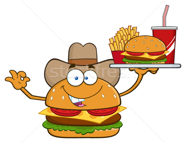 Stockfoto: Cowboy · hamburger · cartoon · mascotte · karakter
