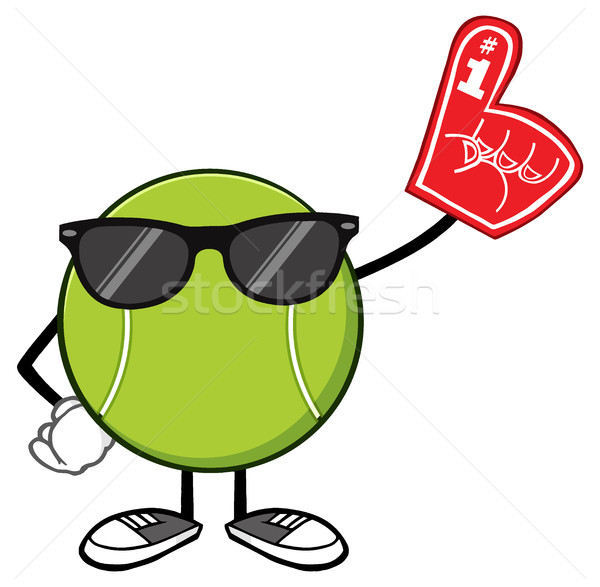 Tennis Ball Faceless Cartoon Mascot Character With Sunglasses Wearing A Foam Finger Stock photo © hittoon
