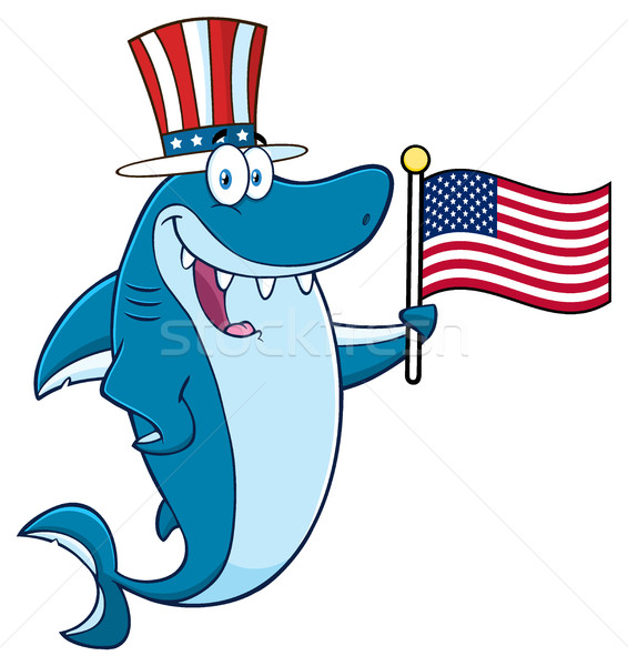 Happy Blue Shark Cartoon Mascot Character With Patriotic Hat Holding An American Flag Stock photo © hittoon