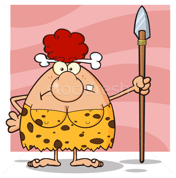 Grumpy Red Hair Cave Woman Cartoon Mascot Character Standing With A Spear Stock photo © hittoon