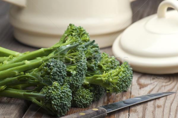 брокколи свежие растительное ножом Сток-фото © HJpix