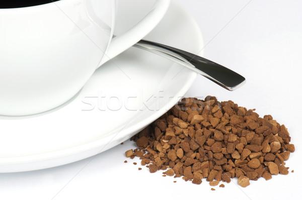растворимый кофе небольшой Кубок блюдце ложку Сток-фото © HJpix