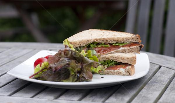 сэндвич белый пластина саду таблице Сток-фото © HJpix