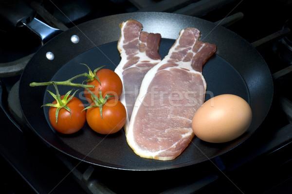 завтрак Ингредиенты сырой традиционный английский сковорода Сток-фото © HJpix