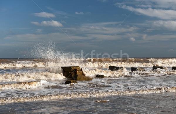 волны старые пляж воды природы Сток-фото © HJpix