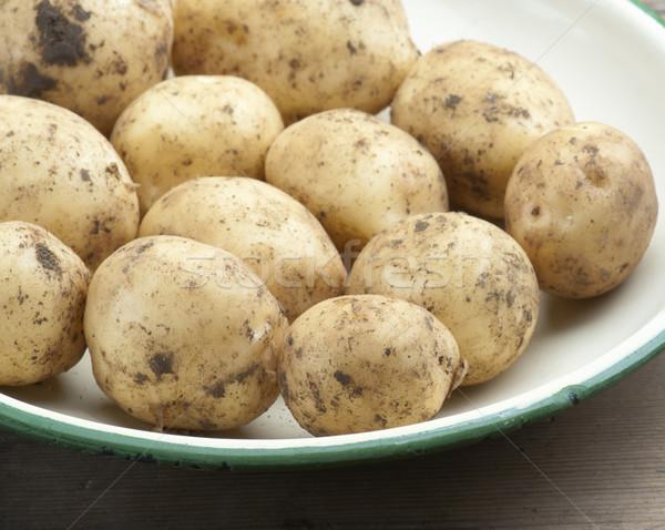 новых картофель эмаль блюдо таблице Сток-фото © HJpix