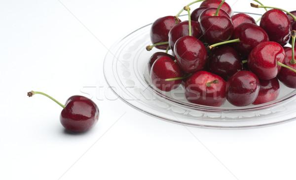 вишни свежие стекла пластина Вишневое сторона Сток-фото © HJpix