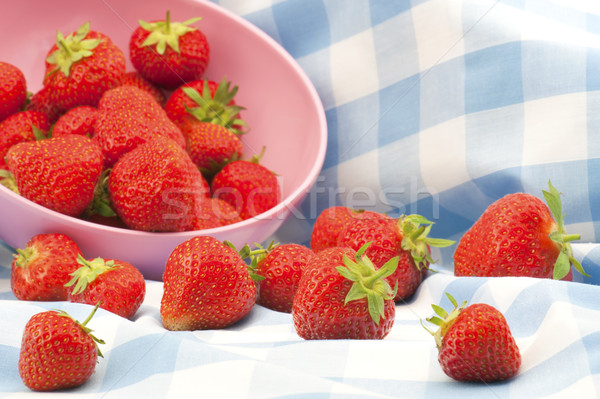 британский клубники свежие пикника ткань Сток-фото © HJpix