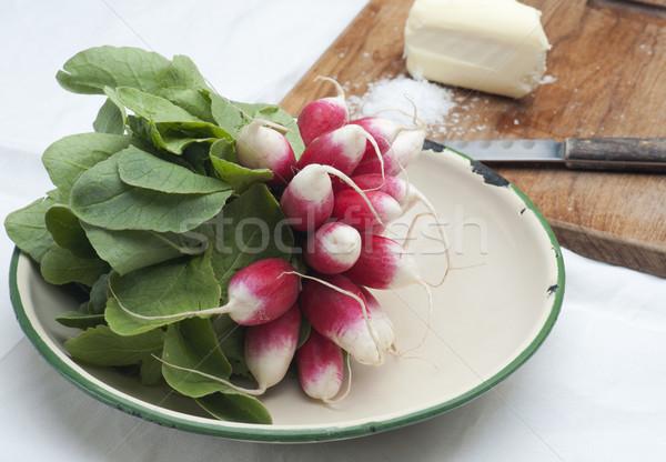 Taze turp fransız kahvaltı emaye Stok fotoğraf © HJpix