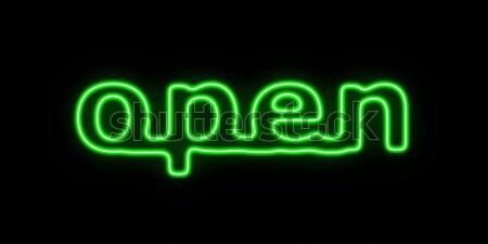 Abierto verde palabra negro negocios Foto stock © hlehnerer