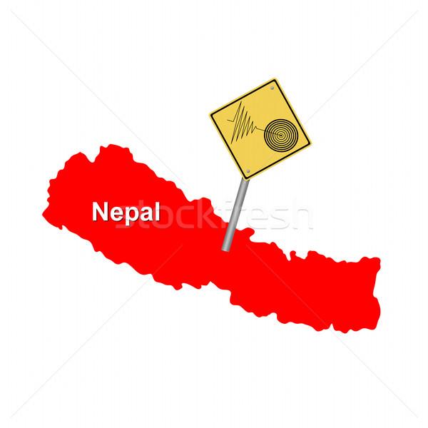 Nepál földrengés piros térkép figyelmeztető jel Föld Stock fotó © hlehnerer