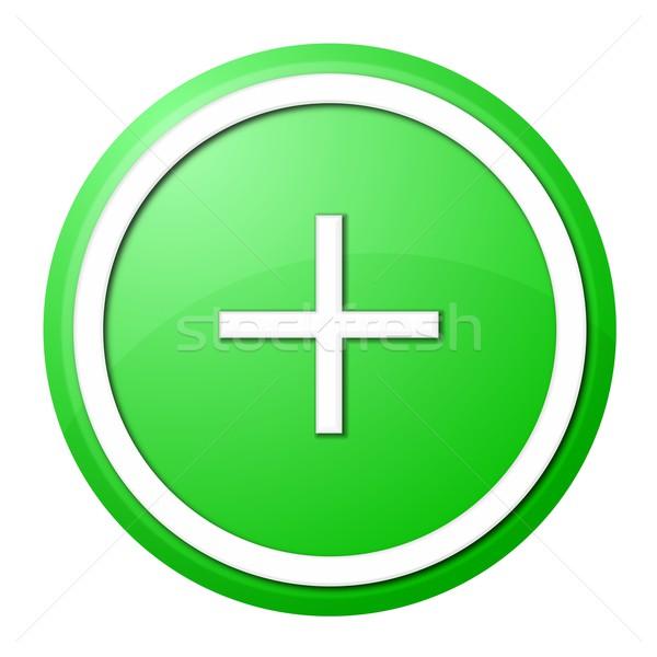 緑 プラス ボタン 白 リング Webデザイン ストックフォト © hlehnerer