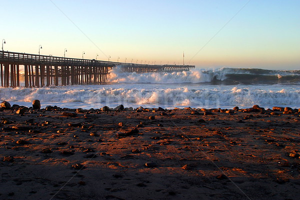 Ocean Wave Storm Pier Stock photo © hlehnerer