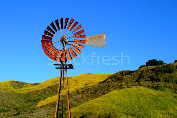 Water windmolen heuvel blauwe hemel hemel natuur Stockfoto © hlehnerer