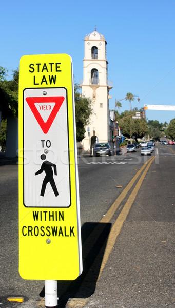 Przejście dla pieszych neon żółty podpisania w dół miasta Zdjęcia stock © hlehnerer