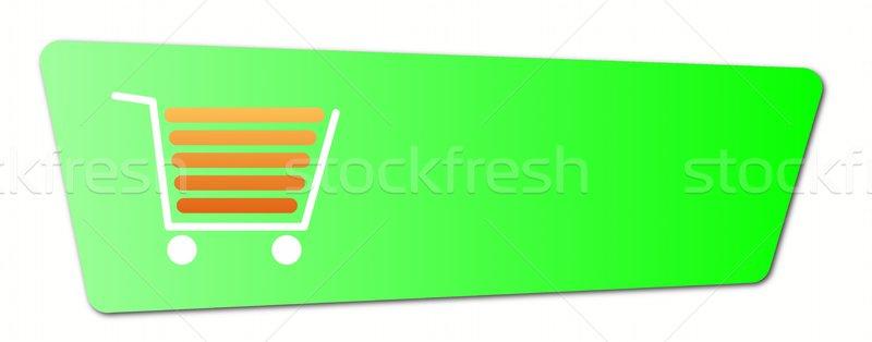 Groene knop winkelwagen witte business Stockfoto © hlehnerer