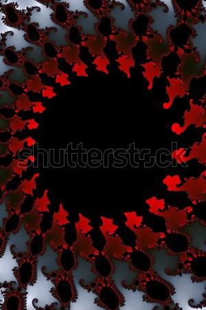 Fraktál piros feketefehér színek fehér fekete Stock fotó © hlehnerer