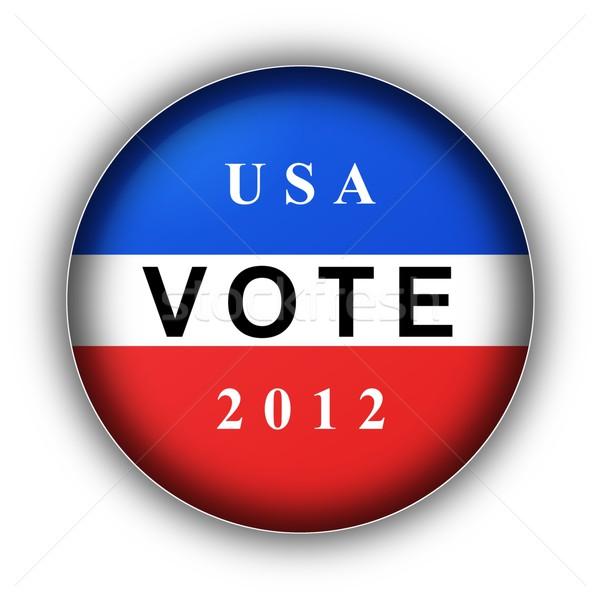 Szavazás gomb 2012 piros fehér kék Stock fotó © hlehnerer