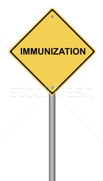 Immunisatie Geel tekst gezondheid teken Stockfoto © hlehnerer