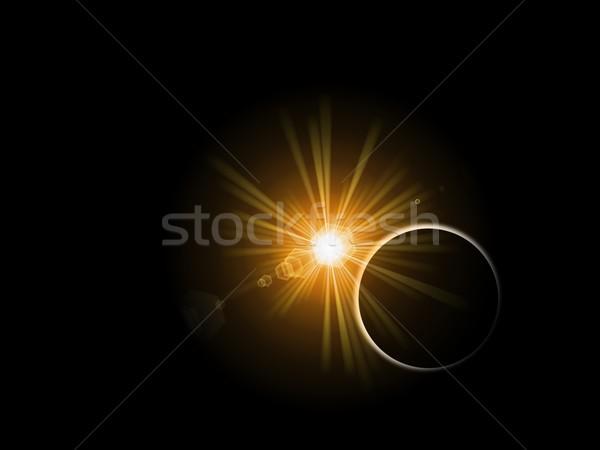 Sonne Planeten sunrise Sonnenuntergang hinter schwarz Stock foto © hlehnerer