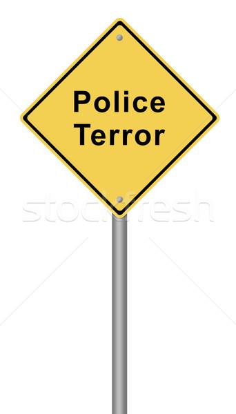 Politie terreur Geel tekst veiligheid Stockfoto © hlehnerer