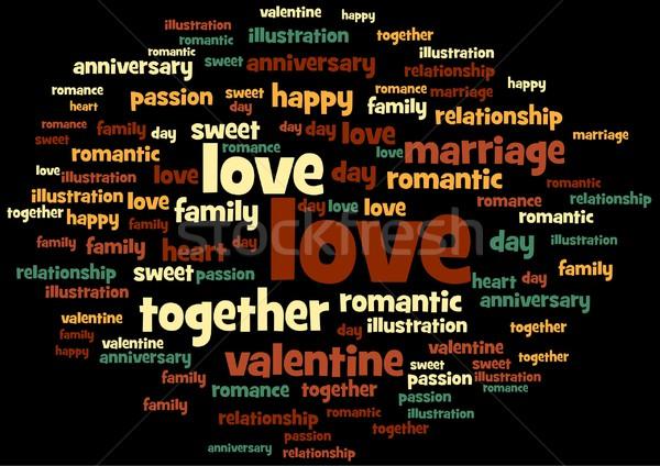 Szeretet szó címke felhő fekete család Stock fotó © hlehnerer