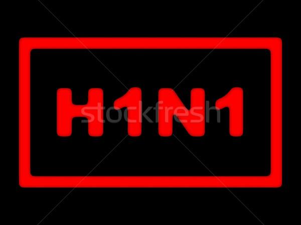 H1n1 знак красный свинья грипп черный Сток-фото © hlehnerer