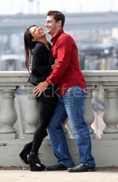 Paar lachend permanente samen vrouw hand Stockfoto © hlehnerer