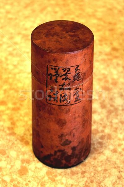 Japonés té contenedor pequeño cilindro té de hierbas Foto stock © hlehnerer