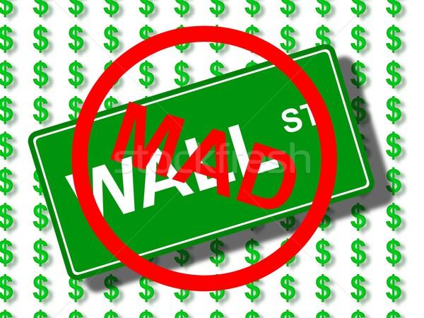 Wall Street mad groene teken dollar iconen Stockfoto © hlehnerer