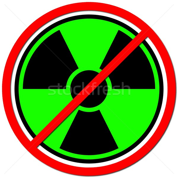 Foto stock: átomo · verde · assinar · radiação · branco · vermelho