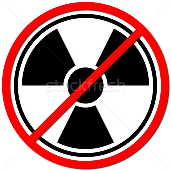 Stok fotoğraf: Atom · beyaz · imzalamak · radyasyon · kırmızı · güç