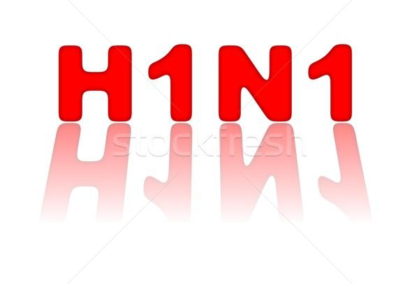 H1n1 знак красный свинья грипп белый Сток-фото © hlehnerer