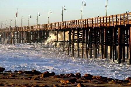 Ventura Pier Sturm Wave Stock photo © hlehnerer
