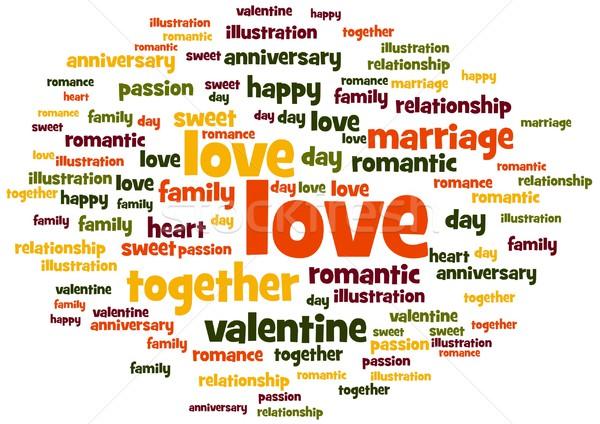 Szeretet szó címke felhő fehér család Stock fotó © hlehnerer