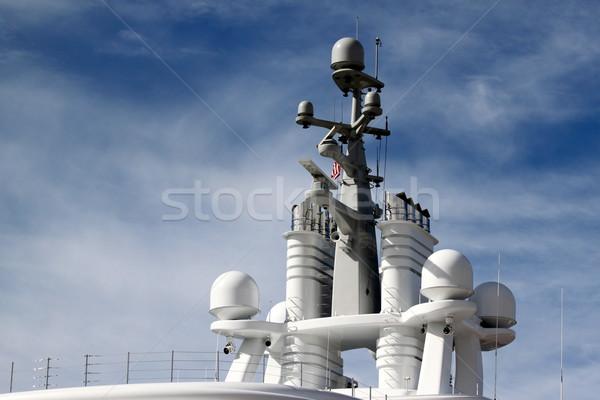 Radar schip Blauw bewolkt hemel technologie Stockfoto © hlehnerer