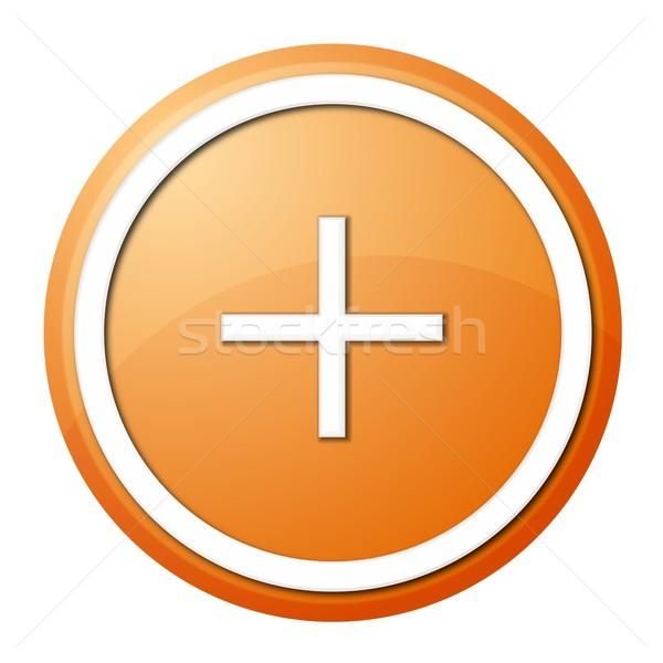 Narancs meg gomb fehér gyűrű web design Stock fotó © hlehnerer