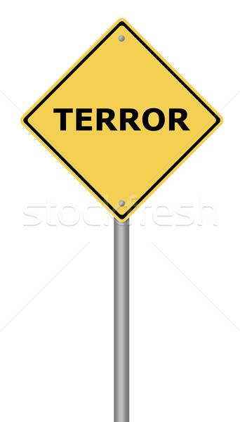 Terreur jaune texte sécurité signe Photo stock © hlehnerer