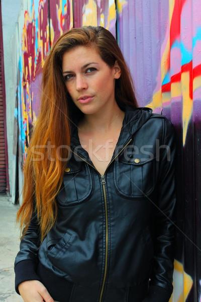 Ritratto giovani colorato muro donna Foto d'archivio © hlehnerer