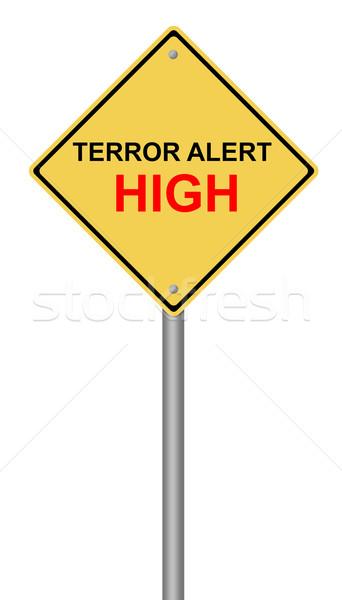Terror éber magas figyelmeztető jel citromsárga szöveg Stock fotó © hlehnerer