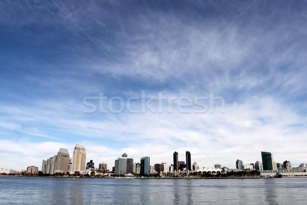 San Diego sziluett víz elöl felhős kék ég Stock fotó © hlehnerer