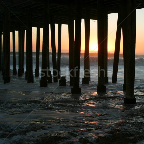 Pôr do sol pier assistindo madeira paisagem mar Foto stock © hlehnerer