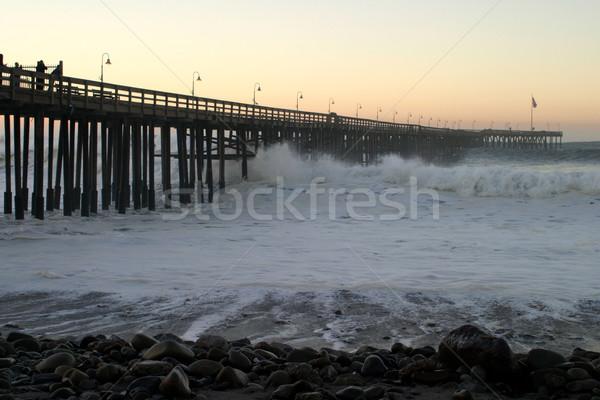 Oceano onda tempesta pier Ocean onde legno Foto d'archivio © hlehnerer