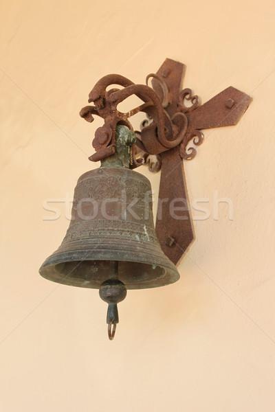 Vieux cloche mur église croix métal Photo stock © hlehnerer