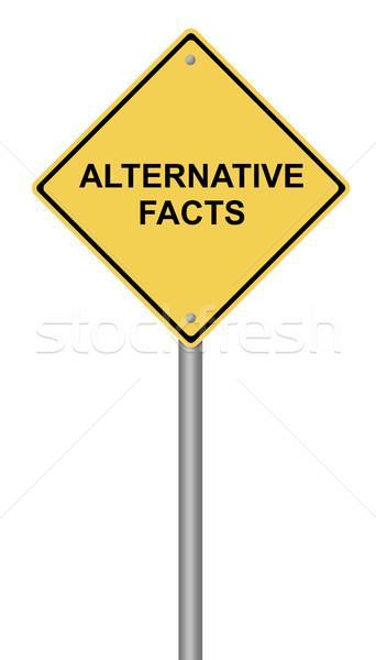 Figyelmeztető jel alternatív tények citromsárga szöveg internet Stock fotó © hlehnerer